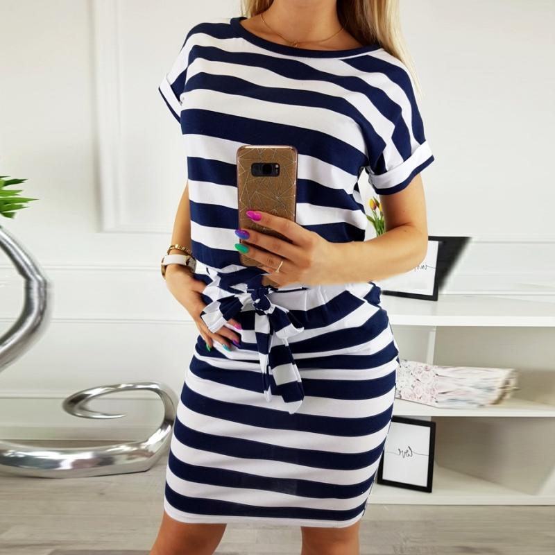 Summer 2019 Casual Women Dress Short Sleeve O-neck Black Blue Striped Sexy Dress Fashion Office Dress Plus Size Women Clothing Y200623