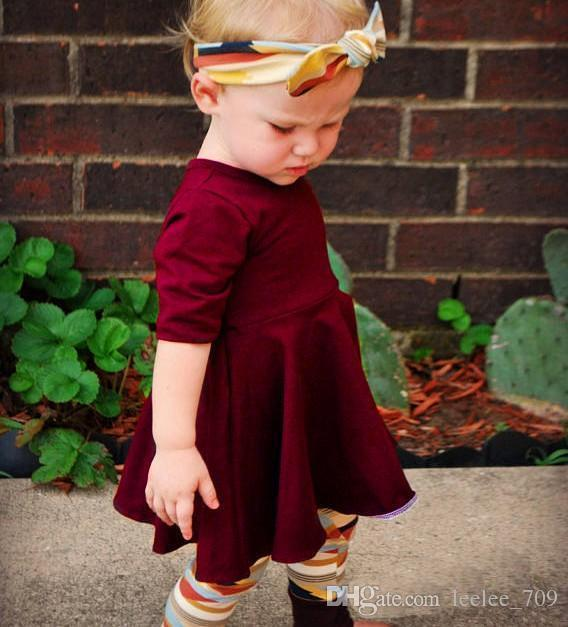Wholesale Kids Girls Wine Red Clothing Baby Three Pieces Sets Children Autumn Suits Headband And Dress And Leggings For 80-120