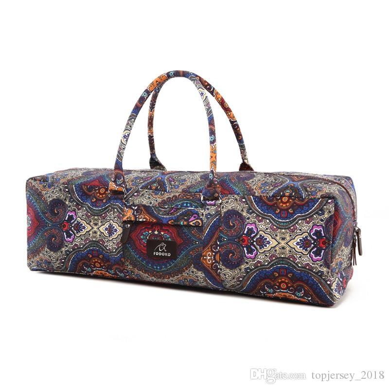 Canvas Elephant Yoga Mat Bag Large Capacity Gym Bag Sports Handbag Fitness Dance Gymnastics Pilates Athletes Exercise Mat Bags #171415
