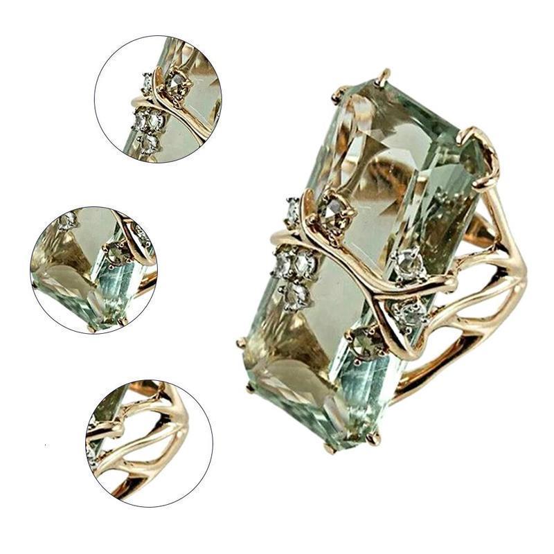 Joyería de moda retro del verde rectangular de cristal de circón Anillo Mujer Rhinestone de la vendimia del color oro anillo de compromiso de las mujeres