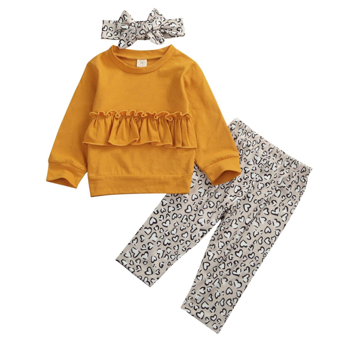 Toddler Baby Girl Winter Clothes Ruffle Tops Leopard Pants Outfits Set Tracksuit