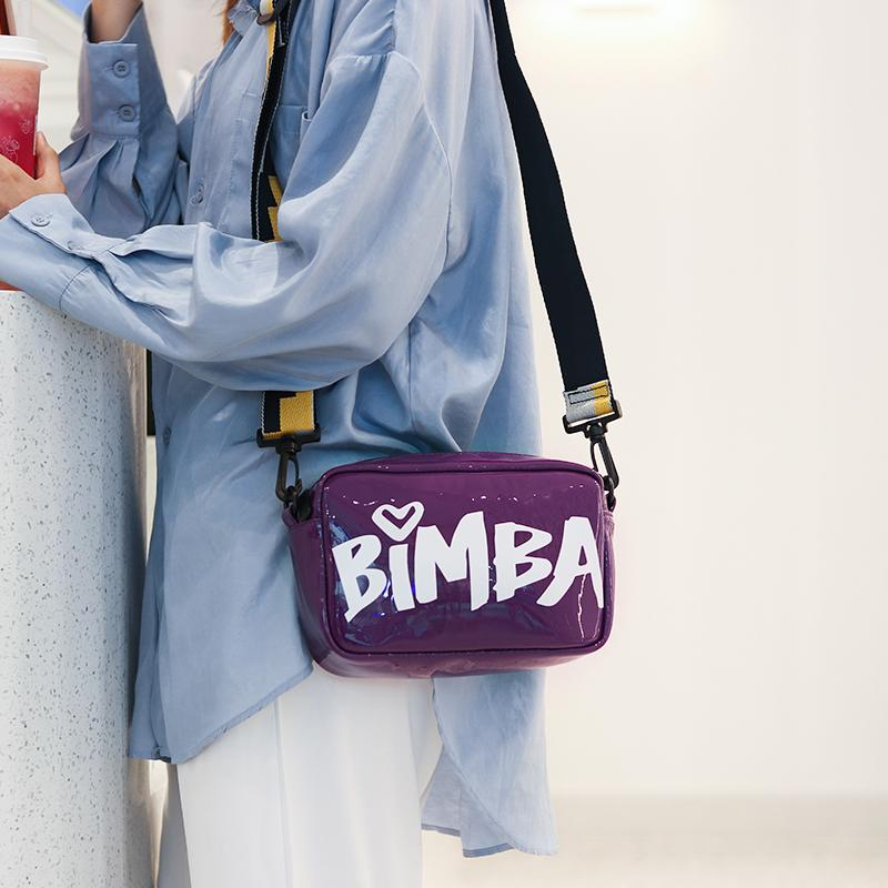 Fashion Laser Color Women Shoulder Bags Popular Girls Letter Handbag Messenger Bags Lady Crossbody Bag With Wide Strap