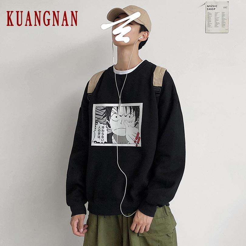 Kuangnan Anime Streetwear Sudadera hombres japoneses 5xl Hop One Sudaderas Sudadera Hip Harajuku Pieza Hombres 2019 Otoño Nuevo HDWNM