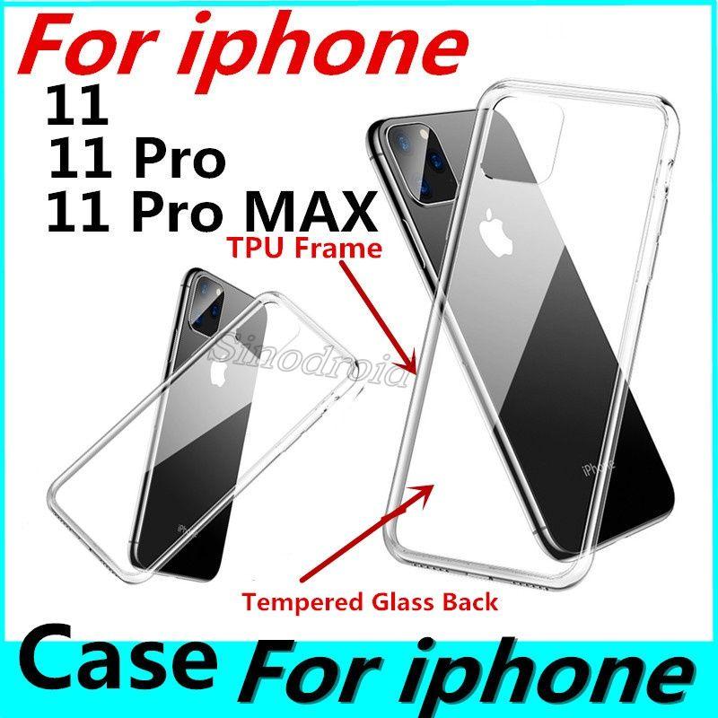 Senza graffi No ingiallimento trasparente temperato Glass nero della cassa del telefono di iPhone 11 Pro Max della pagina TPU della copertura della protezione