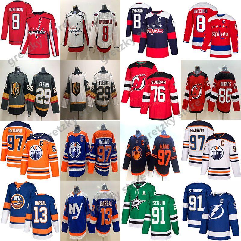 Connor McDavid Edmonton Oilers Jersey Alex Ovechkin Washington Capitals Marc-Andre Fleury Stamkos Mathew Barzal NHL Hokey