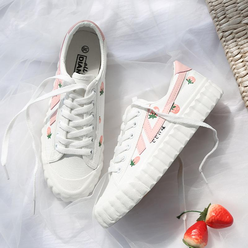 FL JUMPMORE femmes Flatts Strawberry Printed douces filles Chaussures causales lacer Blanc Chaussures en toile Plus Size 35-40