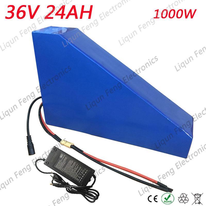 Keine Zollgebühren 36V 1000W Dreieckbatterie 36V 24AH E Fahrradbatterie 36V Lithiumbatteriesatz mit kostenlosem Ladegerät 30A BMS 42V 2A