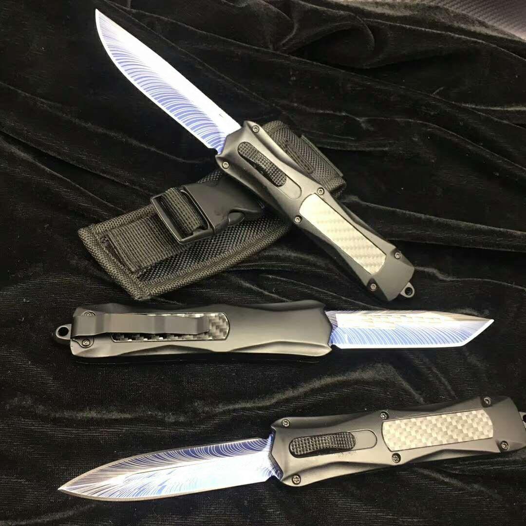 Benchmade carbono BM3300 fogo 3500 facas de bolso Combate CNC estilo italiano lâmina Folding dupla AUTO 440 aço inoxidável Camping lâmina knive