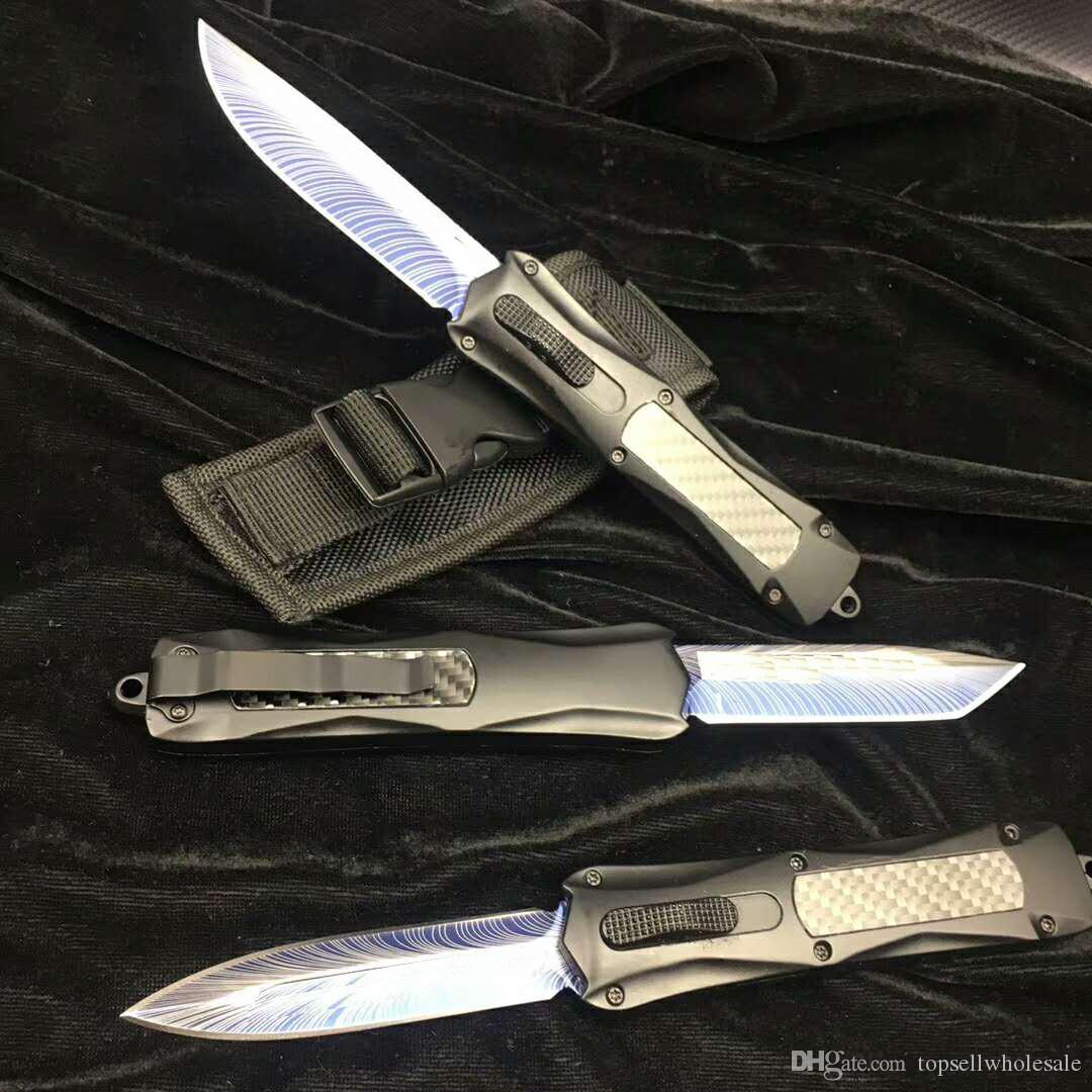 Benchmade углерода огонь BM3300 3500 Combat CNC итальянский стиль Складные лезвие Карманные ножи двойной AUTO 440 Лезвие из нержавеющей стали Отдых на природе Нож