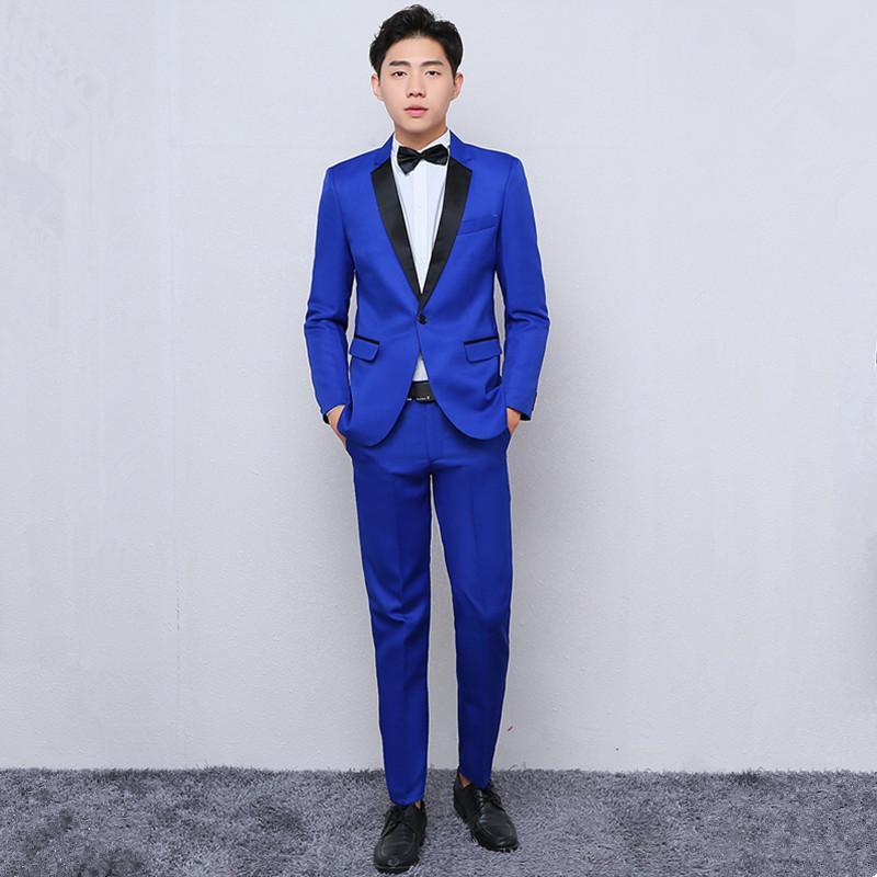 Blue Mens Suits Business Casual Formal Suit Mens Suit Two Piece Suit Jacket Pants Wedding Groom Groomsman Dress Black Tuxedo Suit Cheap Men Suits From Antu186 99 5 Dhgate Com