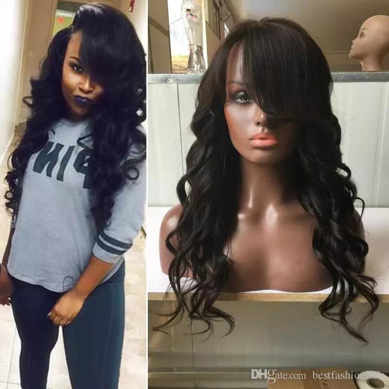 Hand Tied Human Hair Wig Deep Wave Malaysian Virgin Hair Glueless Lace Wig Body Wave Full Lace Human Hair Wigs Side Bangs