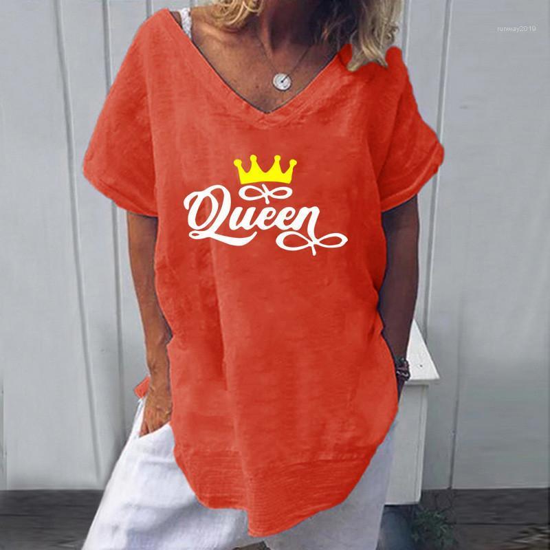 Con cuello en V manga corta floja Tees ropa de moda para mujer camisetas Famale ocasional del verano camisetas Diseñador de impresión de letras