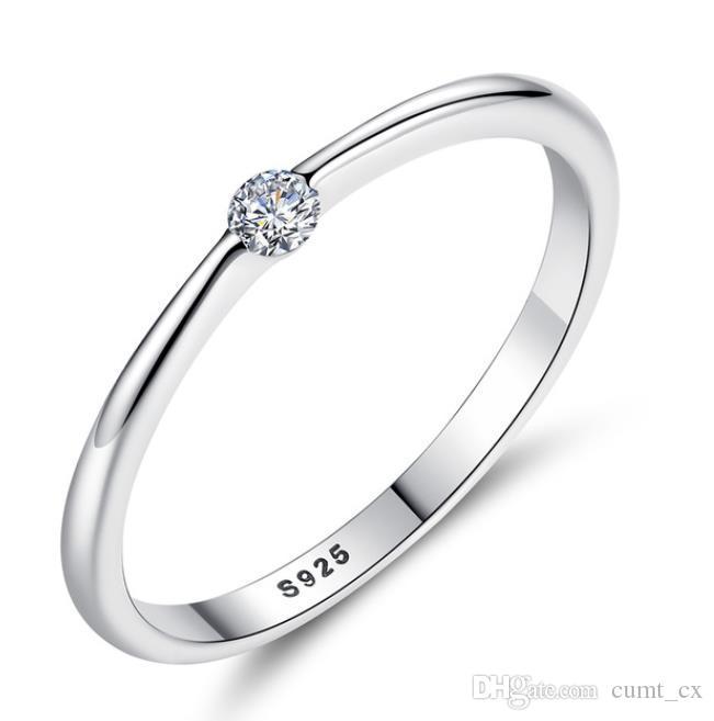 Authentic 925 Sterling Silver Rings Rodada Zirconia Cristal Anéis de Dedo para As Mulheres de Casamento Original de Prata Jóias