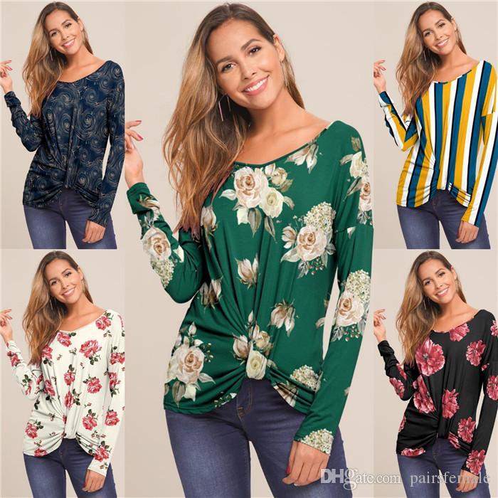 Frauen Frühling Designer-Druck-T-Shirt Art und Weise lose kurze Hülsen-unregelmäßige Tees Famale Kleidung Frauen Bekleidung