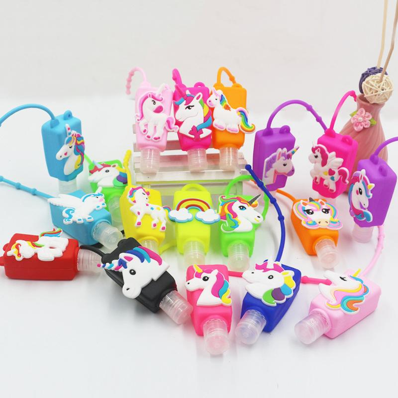 30ML Unicorn Hand Sanitizer Silicone Cartoon Case Mini Portable Gel Hand Sanitizer Bottle Cover With Empty Bottle