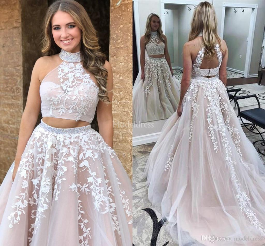 2019 Stylish Lace Prom Dresses Two Pieces Illusion Pearls A Line Sweep Train Open Back Special Occasion Dress Hot Formal Party Evening Gowns