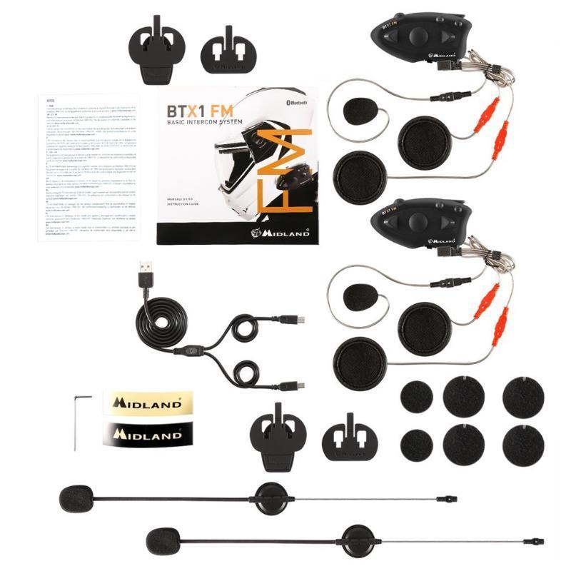2019 Hot Preto Durable BTX1 Capacete Headset intercomunicação mãos-livres Interphone FM Rider-to-Passanger Intercom