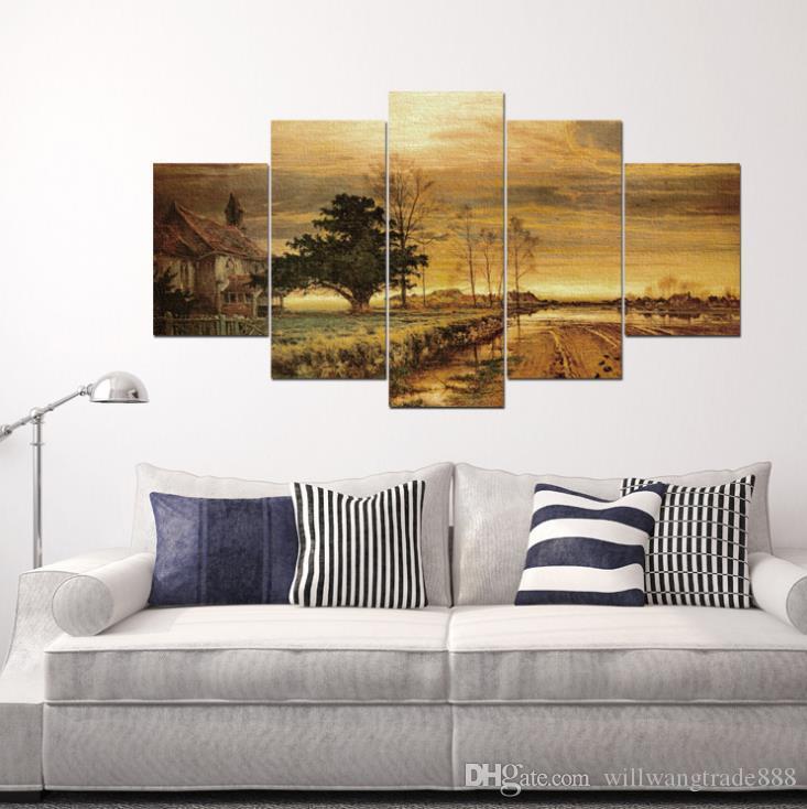 5 Pcs Combinações HD cabana e árvores Pôr Do Sol Emoldurado Pintura Da Lona Decoração Da Parede Da Pintura A Óleo cartaz impresso