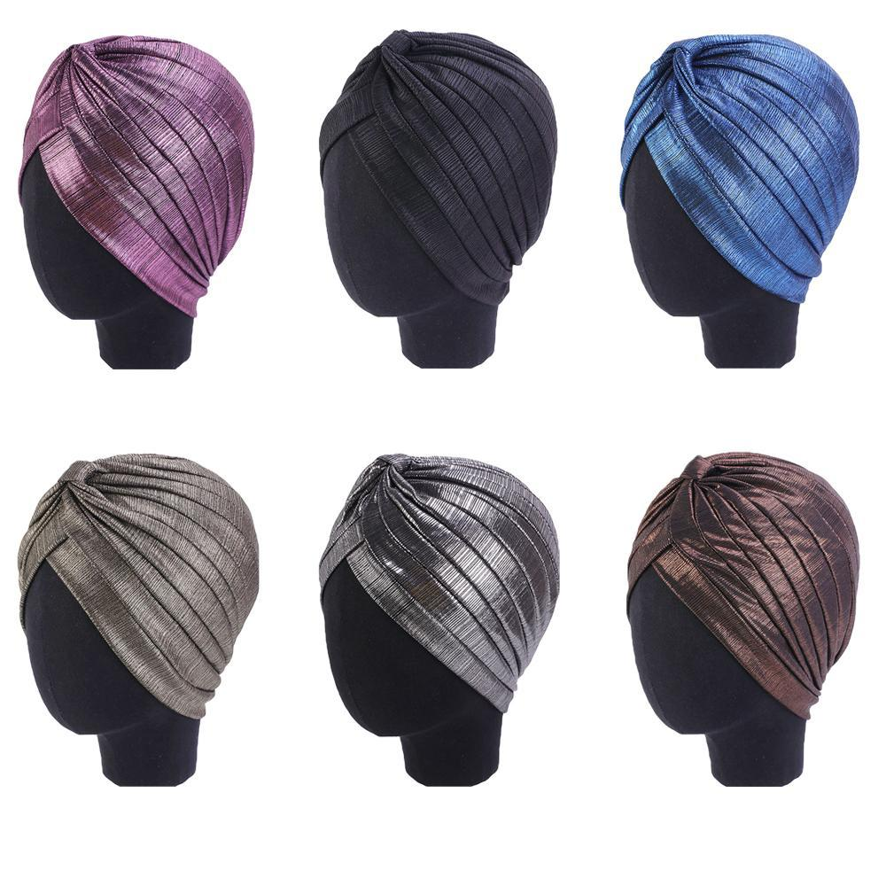 Perda mulheres indianas Turban Hat Head Enrole Cabelo Tampa Cancer Chemo Hat plissadas Cap Bonnet muçulmana Gorros Skullies Lenço Cap árabe