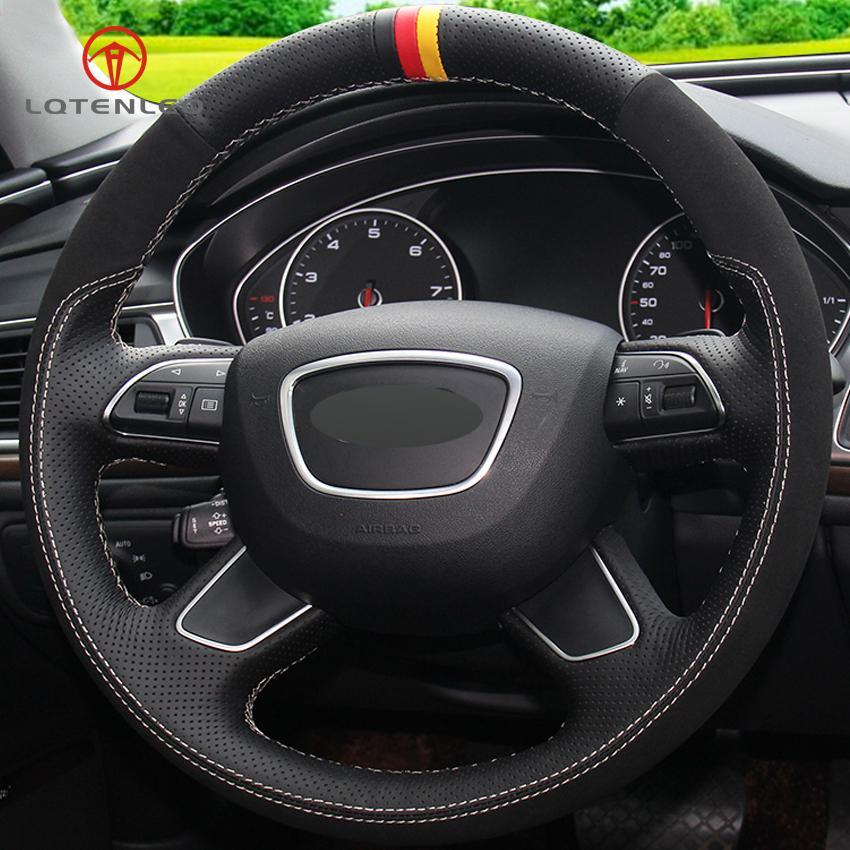 LQTENLEO Preto Couro Steering Suede Car cobertura de volante para Q7 2012-2015 Q3 Q5 2013-2016 A4 (B8) 2014 2015 A6 (C7)