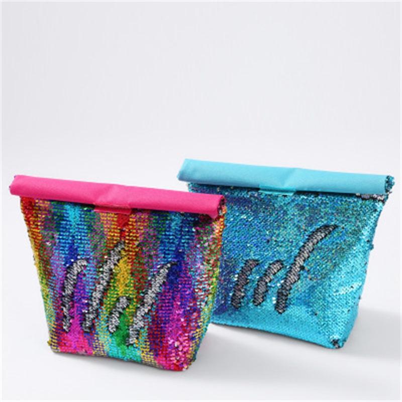 Großhandel Halten Fresh Food Snack Bento Beutel zusammenklappbarer Farbe Mermaid Pailletten Aluminium Film Lunch Box Taschen Picknickpaket 12HH H1
