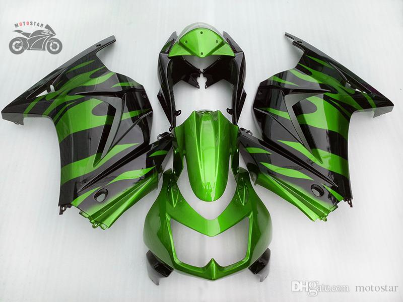 Free 7gifts motorcycle Fairings kit for kawasaki Ninja 250r 2008 2009 2010 2011 2012 2013 2014 green black Fairing set ZX250R EX250 08-14