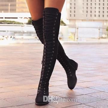 Женщина передние кружева колена высокий мотоцикл ботинок леди толстый каблук платформа зима теплый плюшевый гладиатор длинные пинетки