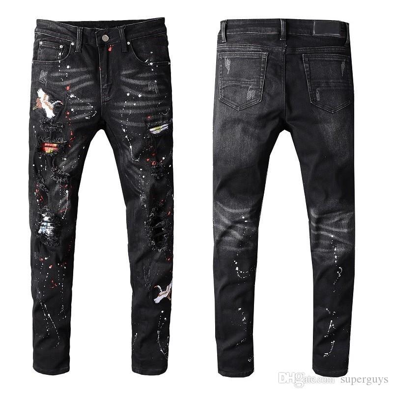 Erkekler Sıkıntılı Tahrip kot Yamalar Skinny Siyah Skinny pantolonlar Ripped İnce Pantolon kaliteli W28-40 # 605