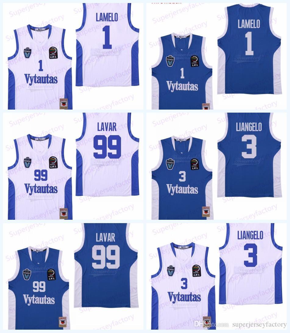 Homens Lituânia Prienu Vytautas Jersey Basquete 1 Lamelo Ball 3 Liangelo Ball Uniform 99 Lavar Ball Todos Costurados Azul Branco Branco Transporte Rápido