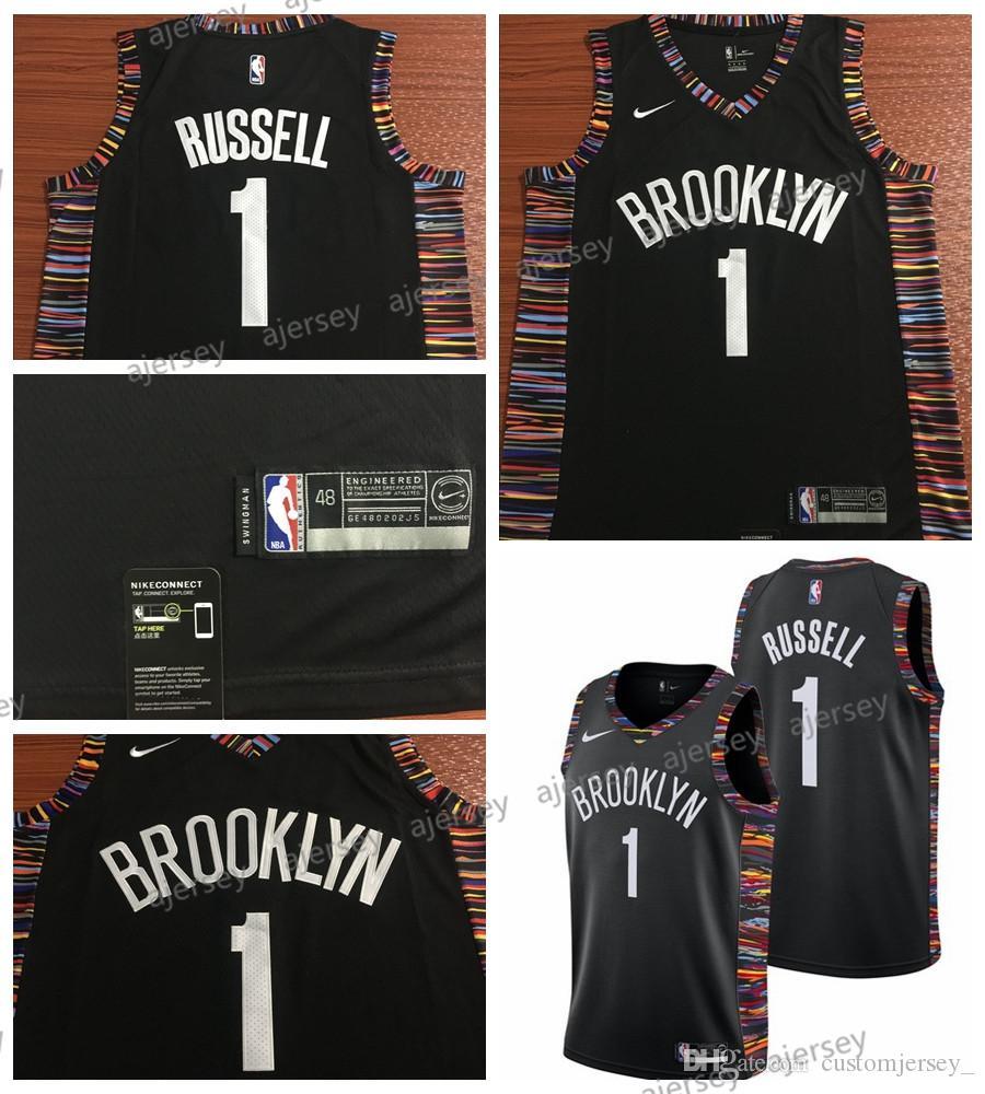 Nero City Edition 2019 Stile di Abbigliamento Sportivo Lalagofe dAngelo Russell Brooklyn Nets #1 Basket Jersey Maglia Canotta M, City Edition 19 Maglia Swingman Ricamata