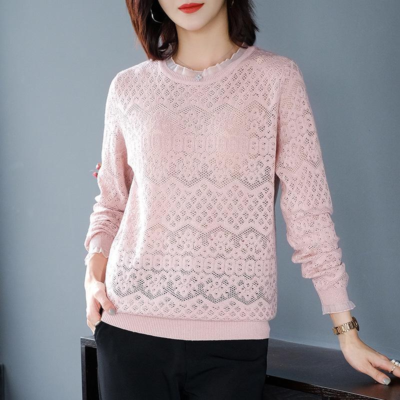 2020 femmes de créateurs de luxe de la mode marque vêtements de printemps femmes Tricots coréenne creux en vrac Pull Trou T-shirt