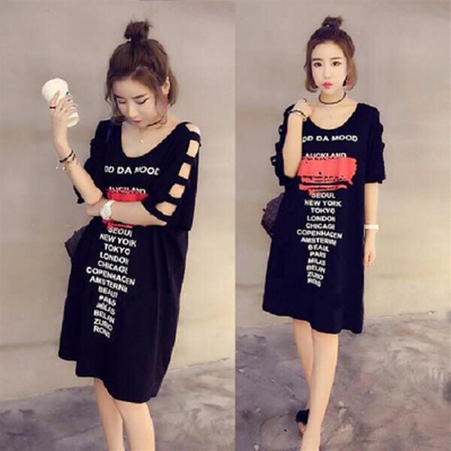 2019 yaz elbise Kore fanı Süper yangın kısa kollu tişört kadın omuz maruz gevşek giysiler tek karakterlik eğik omuz m ins