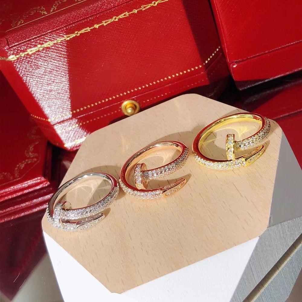 paio anello set-up design classico di lusso della moda anello regolabile lusso di lusso di marca 2020Hot S925 puro argento anello chiodo fissato zircone vite