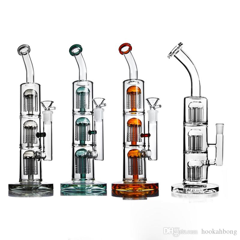 Glass bongs triple chamber with arm tree percs water pipes glass bubbler dab rig hookahs 14mm joint