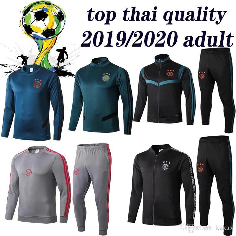 La más nueva chaqueta de chándal de fútbol Ajax Sudadera con capucha 2019 2020 Ajax trainingspak polo 19 20 Traje de entrenamiento de fútbol VAN DE BEEK TADIC ZIYECH
