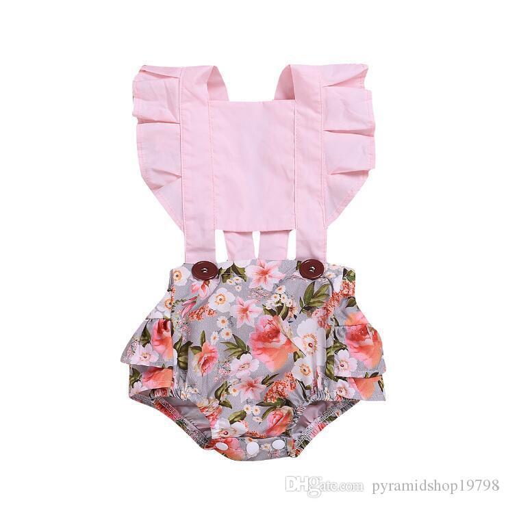 Été enfants vêtements de marque filles Loisirs Ceinture Fragmenté Fleur Triangle barboteuse vêtements pour enfants Vêtements One-piece Bébé fille