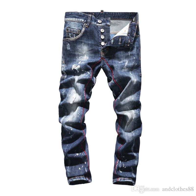 2020 pantalones vaqueros de diseño de lujo del diseñador de moda Slim Fit lavada Moto Vaqueros plafonadas para pantalones Hip Hop vierten Hommes