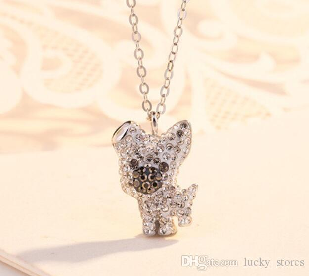 New Luxury Necklace Dog Pendant Women Gold Silver Brand Designer Plated Diamond Stainless Steel SWA Jewelry Necklace S1022 for Sale