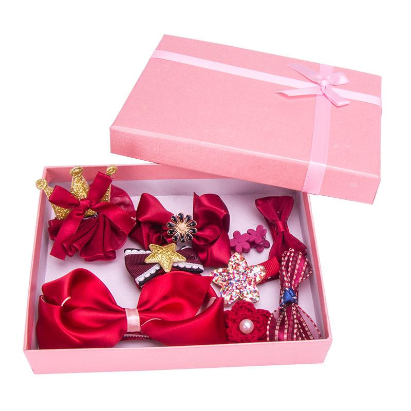 Chinese Style Red Cute Hairpin Sets Baby Girls Toddler Kids Hairpin Knotted Nylon Turban Bow-knot Hair Accessories Gift box