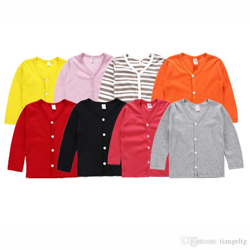 الفتيات محبوك سترة فضفاضة 8 تصاميم الخريف لون الحلوى الصلبة طفل الفتيات الفتيان أفخم المعطف أبلى ملابس الفتيات معطف 2-6 طن 04