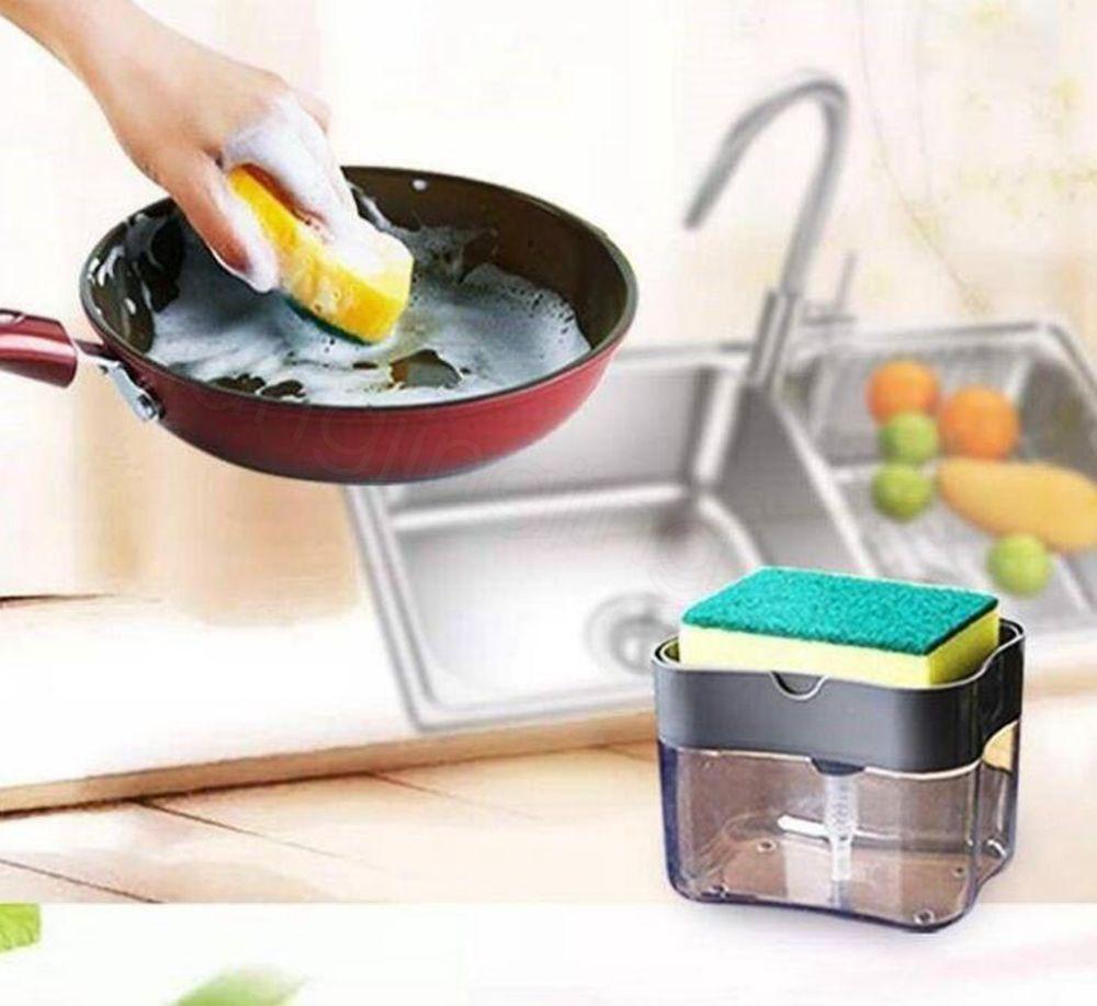 Sabunluk Sabun Pompası Sünger Yaratıcı Mutfak 2'si 1 ev mutfak FFA4158 200p için Yıkama Sponge ile Manuel Basın Sıvı Sabun Dispenser