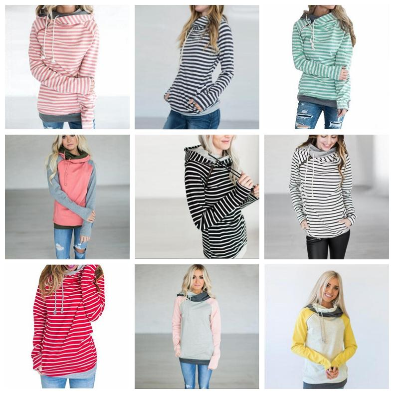 Girls Hoodies Patchwork Pocket Hooded Coats Women Striped Long Sleeve Sweatshirts Fashion Jumper Tops Pullover Hoodie Casual Outerwear D7062