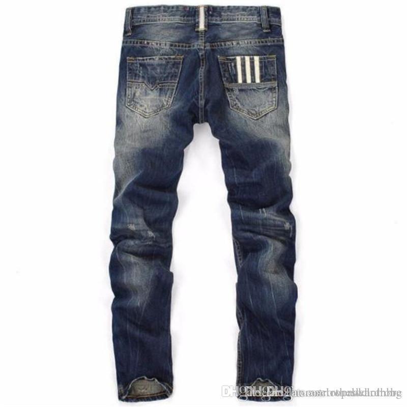 Düz Yırtık Erkek Jeans Çizgili Düzenli Uzun Pantolon Orta Bel Delikler Erkek Pantolonları Erkek Giyim yazdır