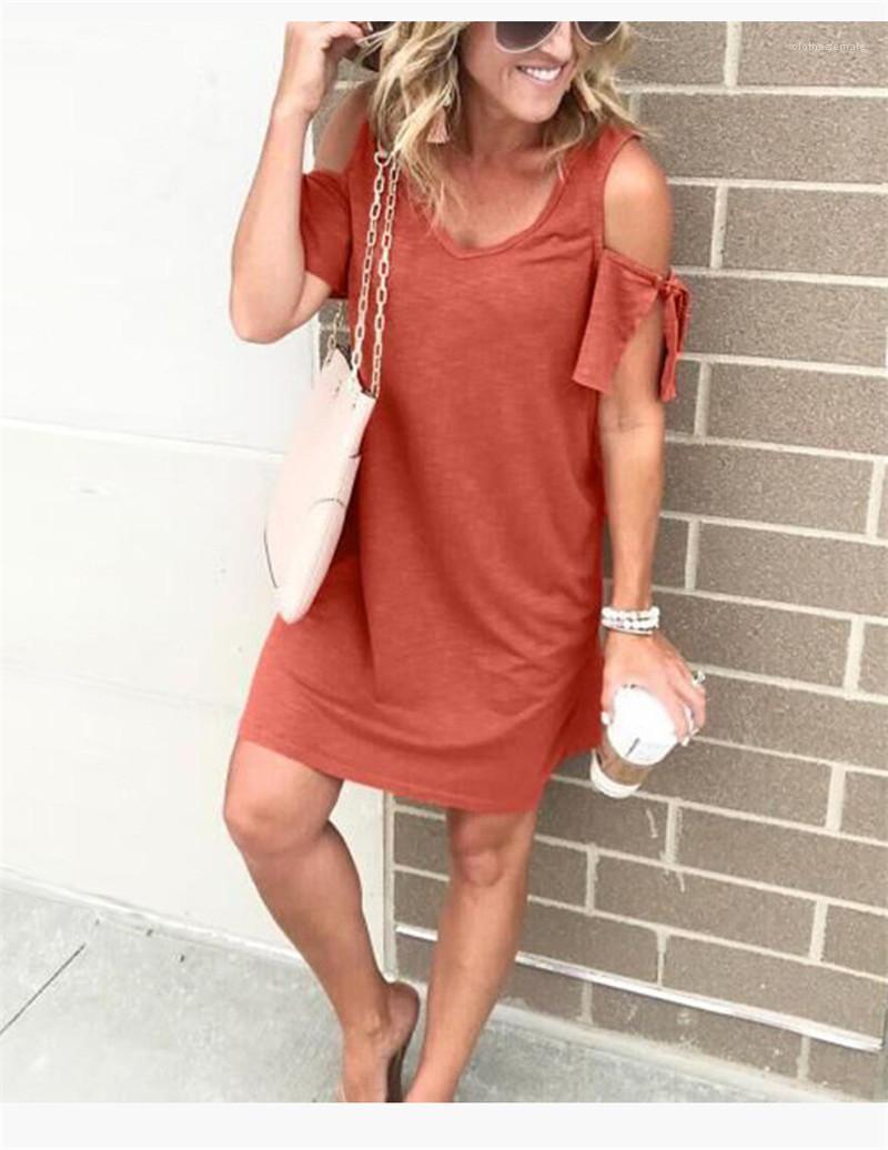 Pure Color Panelled Kleider Schulter Hülse Kleider Fashion V-Ausschnitt Womens Casual über Knie-Kleid-Frauen