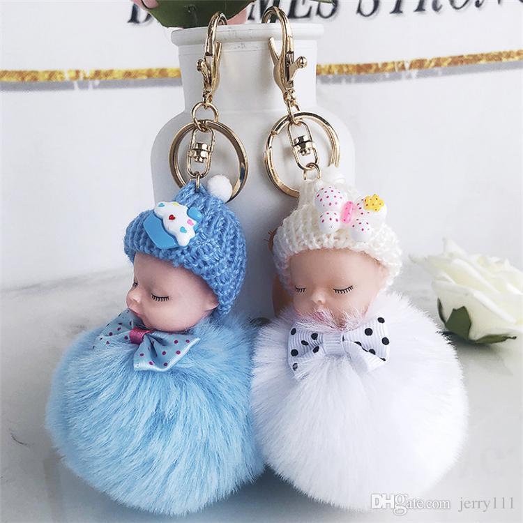 8 color Sleeping Baby Doll keychain Bow Pompom Ball Carabiner Key Chain keyring Women Kids Key Holder Bag pendant key Ring Wholesale JJ198