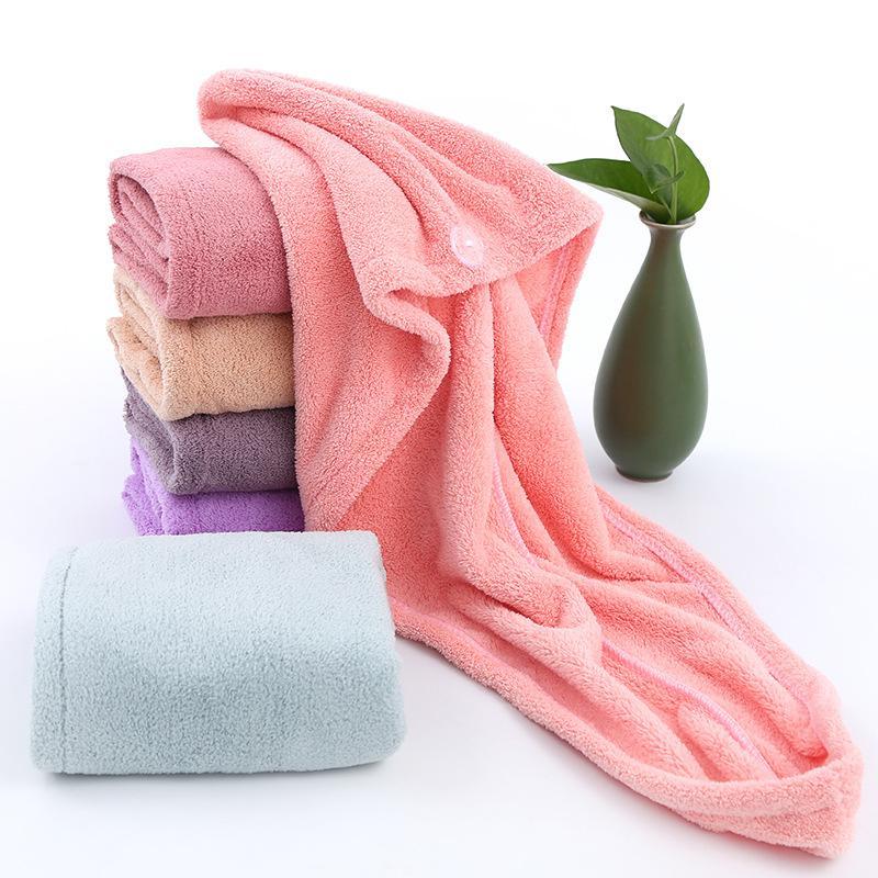 Dry sombrero de cabello en la mujer-absorbente de secado rápido toalla pelo envuelto artefacto más gruesa de terciopelo de coral casquillo lindo ducha