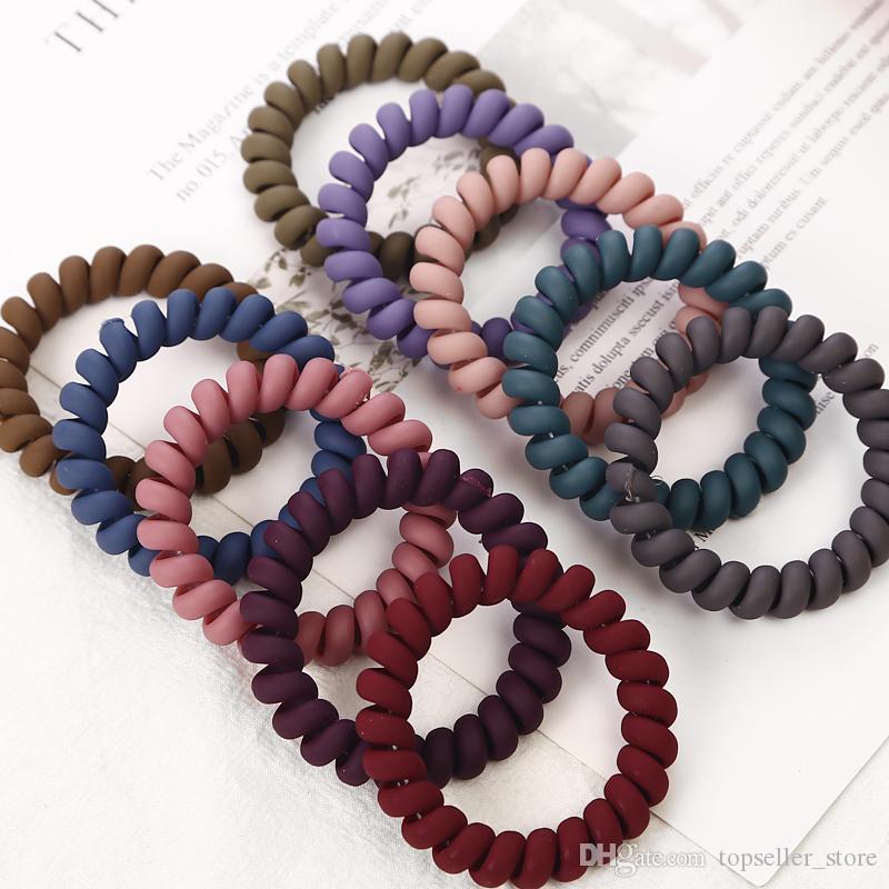 Bandas esmerilado color del alambre de teléfono elásticos del pelo para niñas Headwear sostenedor del Ponytail de las gomas Mujeres Accesorios para el cabello