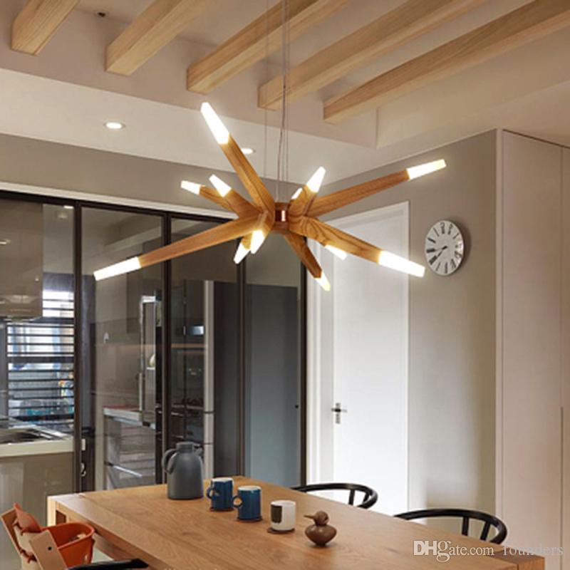Modernas luces colgantes para comedor Modern Suspention Colgante de madera Luces colgantes Lámpara para comedor Lámpara colgante creativa