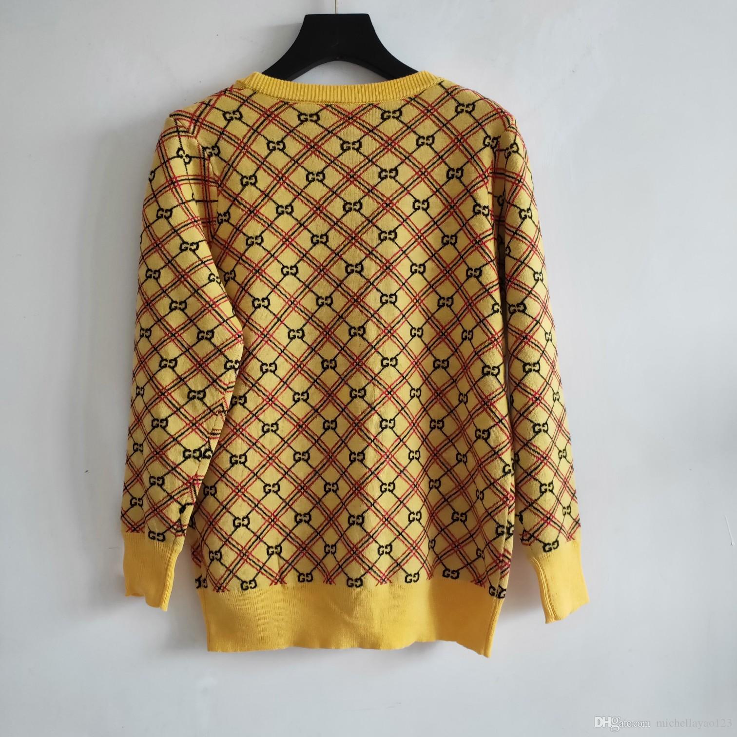 Großhandel 2019 Herbst Gelb Letter Logo Print Damen Strickjacken Designer Langarm Strick Damen Jacken Pullover 89292 Von Michellayao123, $64.33 Auf