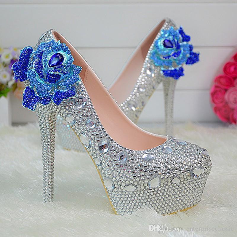 Chaussures à talons hauts robe de mariée femmes parti de bal pompes strass chaussures de mariage en cristal plateforme argent chaussures de demoiselle d'honneur